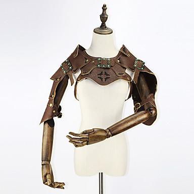 Steampunk Kostium Damskie Gorset Brązowy Postarzane Cosplay Skóra Krótki rękaw Krótki kimonowy