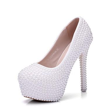 Blanc 06640151 Talon rond Femme Chaussures Confort Automne Bout Aiguille Perle de Nouveauté Chaussures Polyuréthane Printemps mariage qZ67S