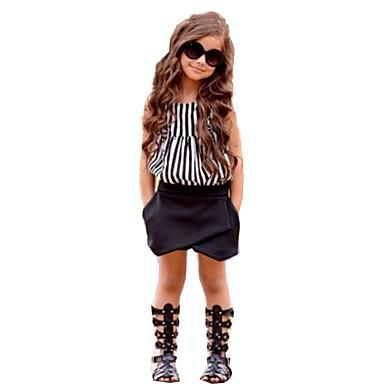 Brzdąc Dla dziewczynek Aktywny Codzienny / Wyjściowe Prążki Bez rękawów Regularny Bawełna / Poliester Komplet odzieży Czarny 100 / Śłodkie