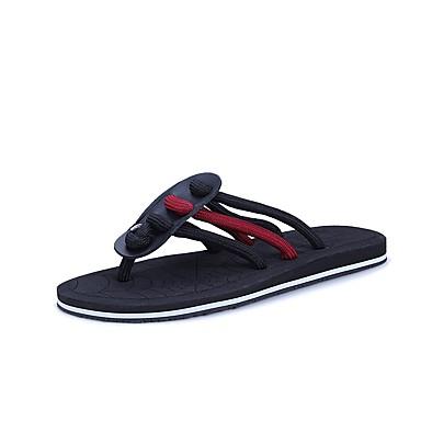 Męskie Komfortowe buty Nylon Lato Klapki i japonki Czarny / Ciemno czerwony