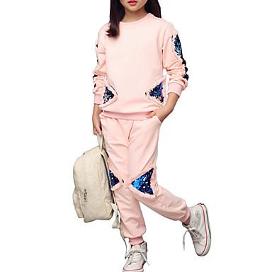 مجموعة ملابس قطن قصيرة قصيرة كم طويل منقوش / مطرز زهري فتيات أطفال