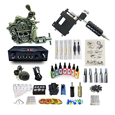 BaseKey Maszynka do tatuażu Zestaw dla początkujących - 2 pcs Maszyna do tatuowania z 7 x 15 ml tusze do tatuowania, Zmienne prędkości, Profesjonalny / a, 3D Stop Zasilanie LCD Komplet nie zawiera