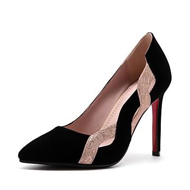 06633187 Nubuck pointu Talon Noir Rouge Automne Soirée amp; Evénement Talons Cuir à Chaussures Aiguille Confort Bout Chaussures Printemps Femme EnSUqU