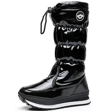 voordelige Dameslaarzen-Dames Laarzen Platte hak Ronde Teen Lakleer Kuitlaarzen Sportief / Vintage Winter / Herfst winter Zwart