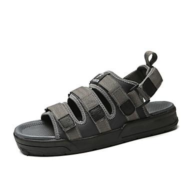 Męskie Komfortowe buty Tkanina Lato Sandały Czarny / Szary