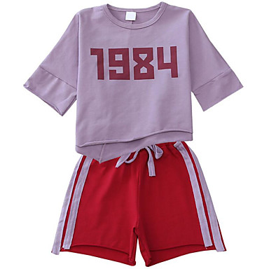 Dzieci Dla dziewczynek Aktywny / Podstawowy Sport Nadruk Krótki rękaw Bawełna Komplet odzieży