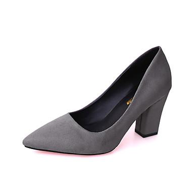 Mujer Zapatos PU Primavera Confort Bailarinas Paseo Tacón Plano Dedo Puntiagudo Apliques Gris / Verde / Rosa