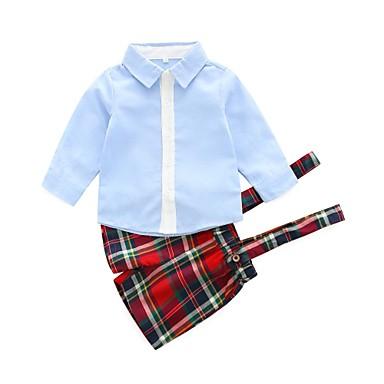 Dziecko Dla chłopców / Dla dziewczynek Casual Solidne kolory / Kratka Długi rękaw Bawełna Komplet odzieży