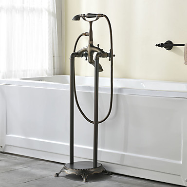 浴槽用水栓 - ハンドシャワーは含まれている 床置き アンティーク銅 床取付け 二つ 二つのハンドル二つの穴