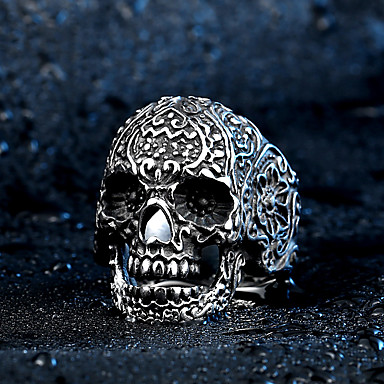 Men's Ring - Stainless Steel, Titanium Steel Skull Rock, Fashion 7 / 8 / 9 Silver For Halloween / Daily / Casual