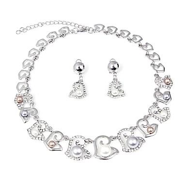 Damskie Biżuteria Ustaw - Sztuczna perła, Posrebrzane Kwiat Moda Zawierać Zestawy biżuterii ślubnej Srebrny Na Ślub Party Wieczór