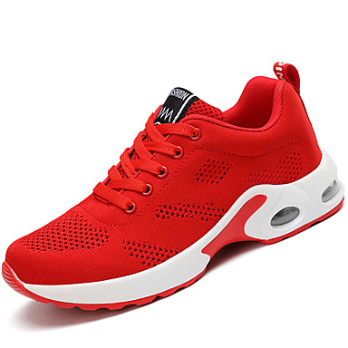 Women's Shoes Knit / Customized Materials / Fabric Fall / Winter Comfort Athletic Shoes Running Shoes Lace-up Black / Red / Pink