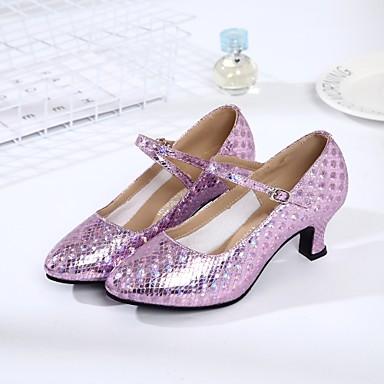 baratos Shall We® Sapatos de Dança-Mulheres Courino Sapatos de Dança Moderna Salto Salto Personalizado Personalizável Dourado / Prata / Roxo / Interior / EU41