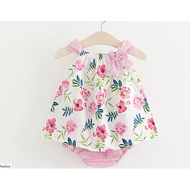 cheap Baby & Kids-Baby Girls' Elegant & Luxurious Daily Floral Sleeveless Regular Cotton Clothing Set Pink / Toddler