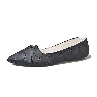 Női Cipő Bőr Nyár Kényelmes Lapos Gyalogló Alacsony Erősített lábujj Kombinált mert Fekete Szürke