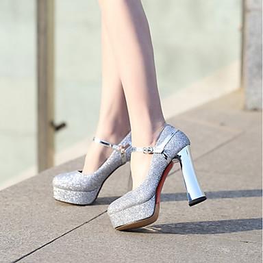 Talon Boucle Argent Automne à Bout Printemps Or Confort Paillettes Chaussures Chaussures Femme Bottier 06641823 rond Talons qg8Twf8