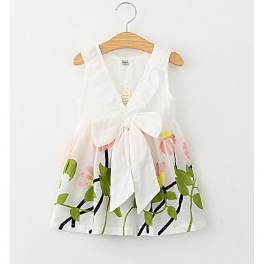 baratos Vestidos para Meninas-Bébé Para Meninas Elegante & Luxuoso Diário Feriado Floral Bordado Sem Manga Vestido Branco / Algodão