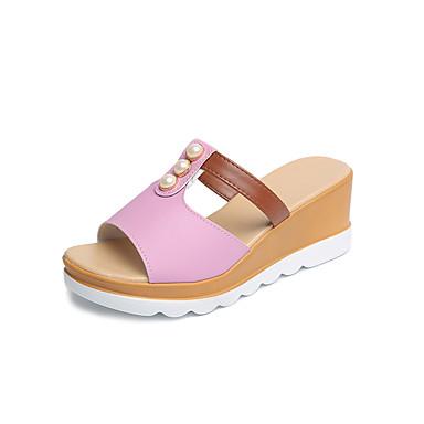Mulheres Sapatos Couro Ecológico Verão Conforto Sandálias Salto Robusto Salto de bloco Salto Alto de Cristal Dedo Apontado Cristais para
