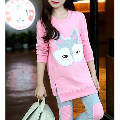 Girls' Cartoon Clothing Set, Cotton Fall Orange Blushing Pink