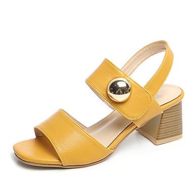 857cc8aa8f4 Women s Block Heel Sandals PU(Polyurethane) Summer Comfort Sandals Low Heel  Round Toe Black   Beige   Yellow