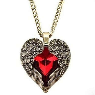 abordables Colliers-Collier Pendentif Cristal Cœur Doux Adorable Rouge 76 cm Colliers Tendance Bijoux pour Mariage Soirée
