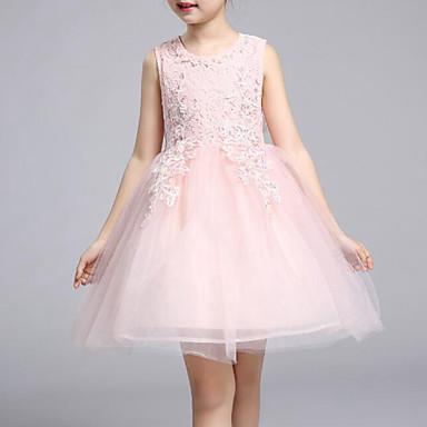 お買い得  女児 ドレス-子供 女の子 フローラル アニマルプリント リボン ビーチ ソリッド フラワー ノースリーブ コットン ドレス ピンク