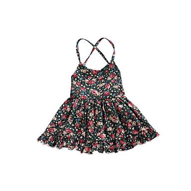 Χαμηλού Κόστους Φορέματα για κορίτσια-Βρέφος Κοριτσίστικα Καθημερινά Φλοράλ Στάμπα Αμάνικο Πολυεστέρας Φόρεμα Πράσινο του τριφυλλιού / Χαριτωμένο