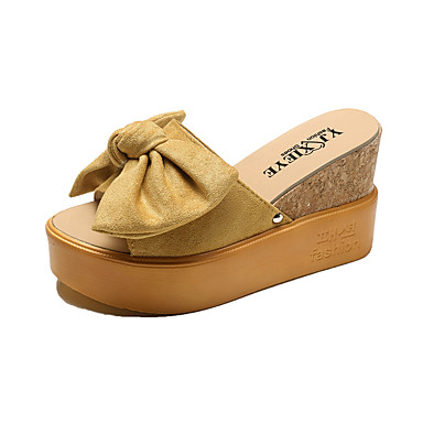 Mulheres Sapatos Borracha Verão Conforto Sandálias Caminhada Creepers Branco / Preto / Amarelo / Calcanhares