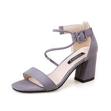Mulheres Sapatos Sintético Verão Conforto Sandálias / Chinelos e flip-flops Caminhada Sem Salto Dedo Aberto Pedrarias Preto / Cinzento /