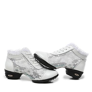 Women's Dance Sneakers / Ballroom Shoes Lace / Leather Sneaker / Split Sole Lace-up Low Heel Non Customizable Dance Shoes Black / White
