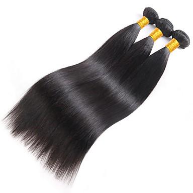 baratos Extensões de Cabelo Natural-3 pacotes Liso 8A Cabelo Humano Não processado Cabelo Natural Cabelo Humano Ondulado Extensor Cabelo Bundle 8-28 polegada Côr Natural Tramas de cabelo humano Presente Venda imperdível Grossa