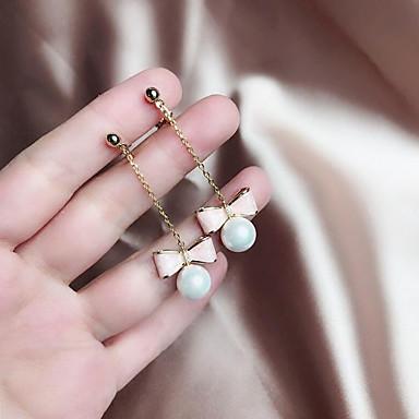 billige Moteøreringer-Dråpeøreringer Lang Sløyfer damer Enkel Søt Elegant Perle øredobber Smykker Rosa Til Gave Daglig