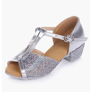 baratos Shall We® Sapatos de Dança-Para Meninas Sapatos de Dança Glitter / Paetês / Pele PVC Sapatos de Dança Latina Salto Salto Baixo Personalizável Dourado / Prateado / Espetáculo / Ensaio / Prática / EU39