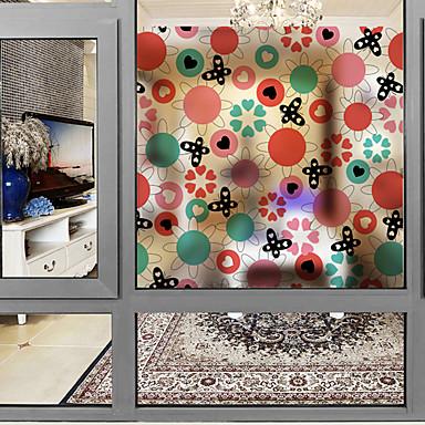 Folie okienne i naklejki Dekoracja Kwiaty / Nowoczesny Kwiaty Polichlorek winylu Naklejka okienna / Matowy / Urząd / Salon