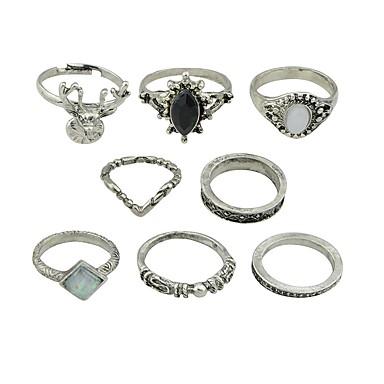 voordelige Dames Sieraden-Dames Ring Set Midiringen Stapelbare ringen 8 stuks Zilver Imitatie toermalijn Legering Cirkelvorm Dames Standaard Modieus Dagelijks Afspraakje Sieraden Vos