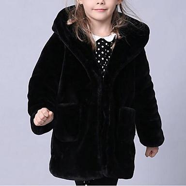 Gyerekek Lány Egyszínű Hosszú ujj Hosszú Műszőrme / Speciális bunda típus Zakó és dzseki Fekete