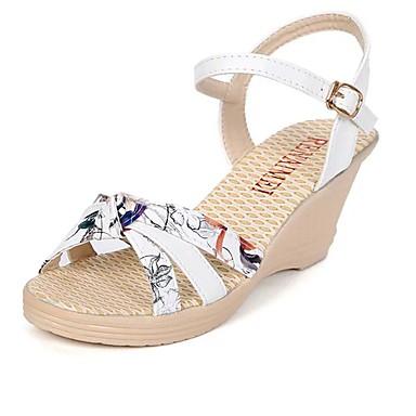 hesapli Kadın Sandaletleri-Kadın's Sandaletler Kama Topukları Dolgu Topuk Açık Uçlu PU Rahat Bahar / Yaz Beyaz / Mavi / Pembe