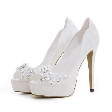 464ecf4383b3 Femme Chaussures Dentelle Printemps   Eté A Bride Arrière Chaussures de  mariage Plateau Bout ouvert Strass Blanc