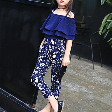 baratos Conjuntos para Meninas-Infantil Para Meninas Floral Floral Meia Manga Padrão Algodão Conjunto Azul Marinha