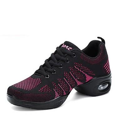 baratos Shall We® Sapatos de Dança-Mulheres Sapatos de Dança Tricô Tênis de Dança Têni Salto Baixo Personalizável Preto / Preto / Vermelho / Branco