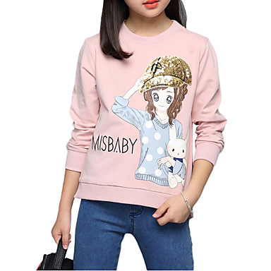 Kids Girls' Floral Embroidered Print 3/4 Length Sleeve Regular Cotton Tee White