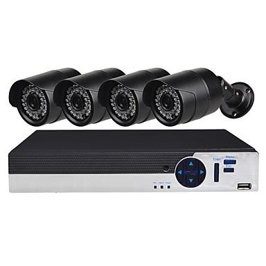 4-kanałowy system bezpieczeństwa z 4ch 1080n ahd dvr 4szt 1.0mp kamery odporne na warunki atmosferyczne z noktowizorem