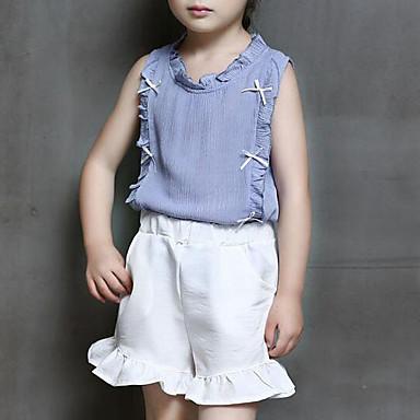 סט של בגדים חוטי זהורית פוליאסטר קיץ ללא שרוולים יומי ליציאה אחיד בנות יום יומי סגנון רחוב פול ורוד מסמיק