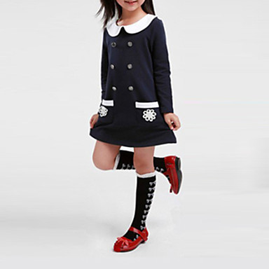 Toddler Girls' Solid Colored Long Sleeve Dress / Cotton