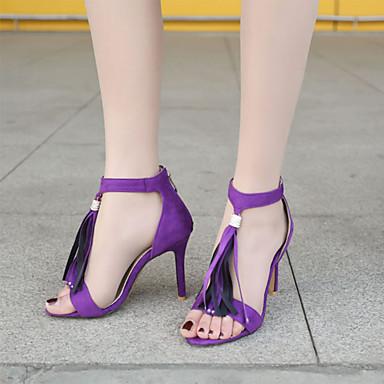 Gris Cuir Bout Femme Aiguille Noir Gland Confort ouvert Soirée Nouveauté Talon Evénement amp; Nubuck Sandales Chaussures Eté 06666103 Violet 15q5wOB