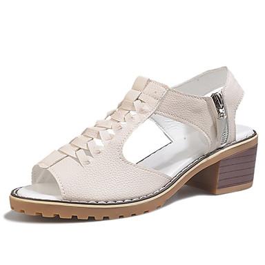 Damskie Obuwie PU Lato Comfort Sandały Gruby obcas Buty z wystającym palcem White / Black / Beige