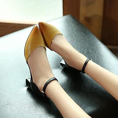 Jaune Eté Talons Bout Bottier 06683130 Escarpin à Rouge Basique Boucle Chaussures Femme pointu Talon Chaussures Cuir wOpUAqA