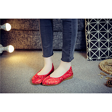 Tacón Rojo Bajo Zapatos Bailarinas Confort Mujer Negro Tela Primavera 06716319 BXxwTq