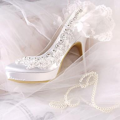 été Bout rond Strass Blanc Aiguille de Basique Satin 06679156 Printemps Chaussures Escarpin mariage Perle Talon Femme Chaussures tRqO47