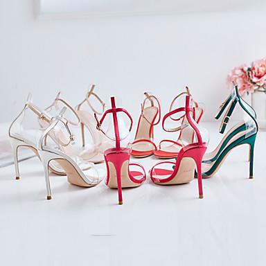 Rouge Sandales Soie Bout Chair Talon Eté PVC 06713957 Femme Aiguille ouvert foncé Escarpin Boucle Basique Vert Chaussures HqwY7g
